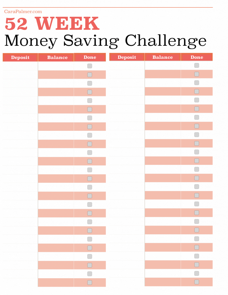 Blank 52 Week Money Saving Challenge