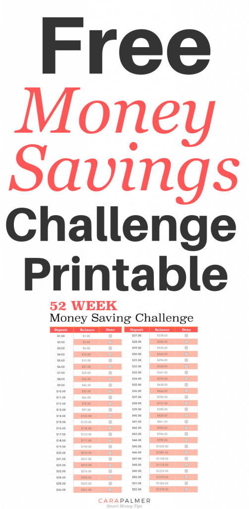 52 Weeks Savings Plan Printable.