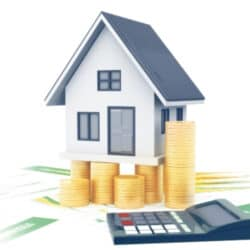 investment property with money and calculator