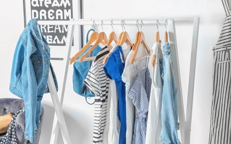 free clothes hanging on a rack