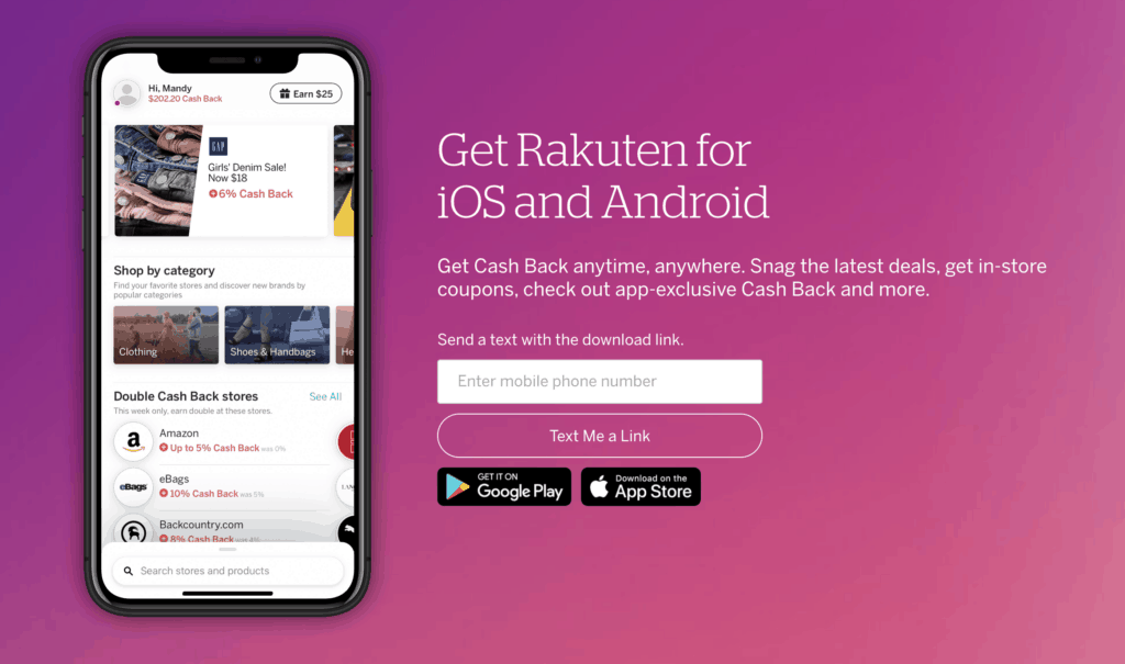 directions to download Rakuten mobile app