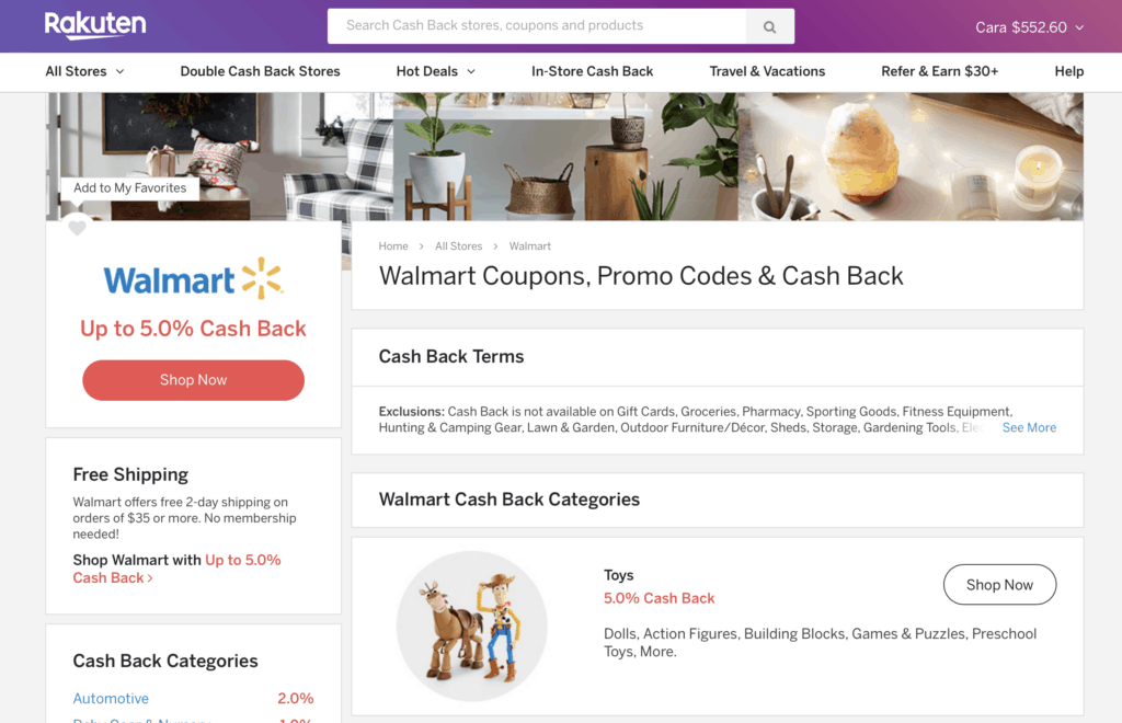 Walmart discount on Rakuten