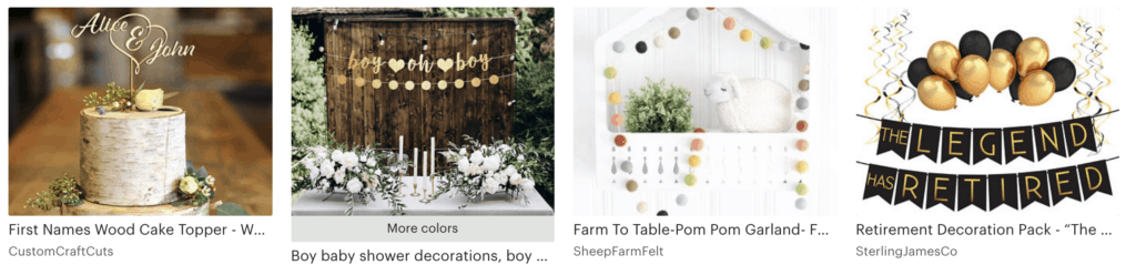 best selling etsy party decor items