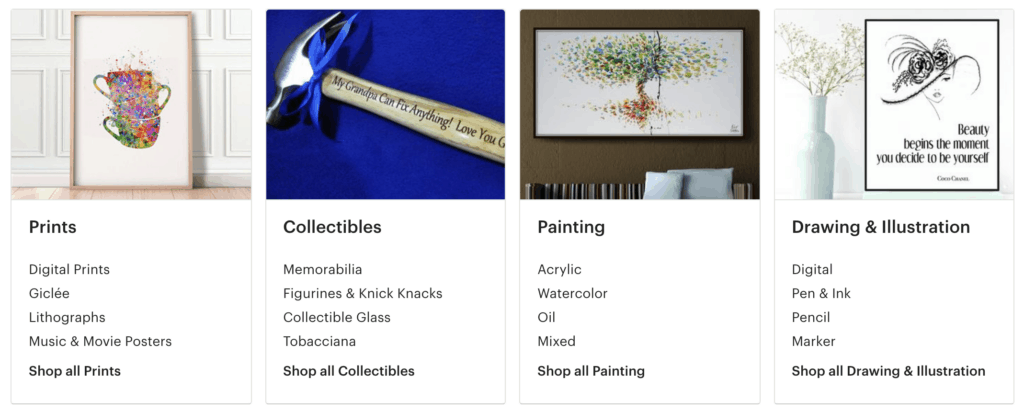 best selling art collectibles on etsy
