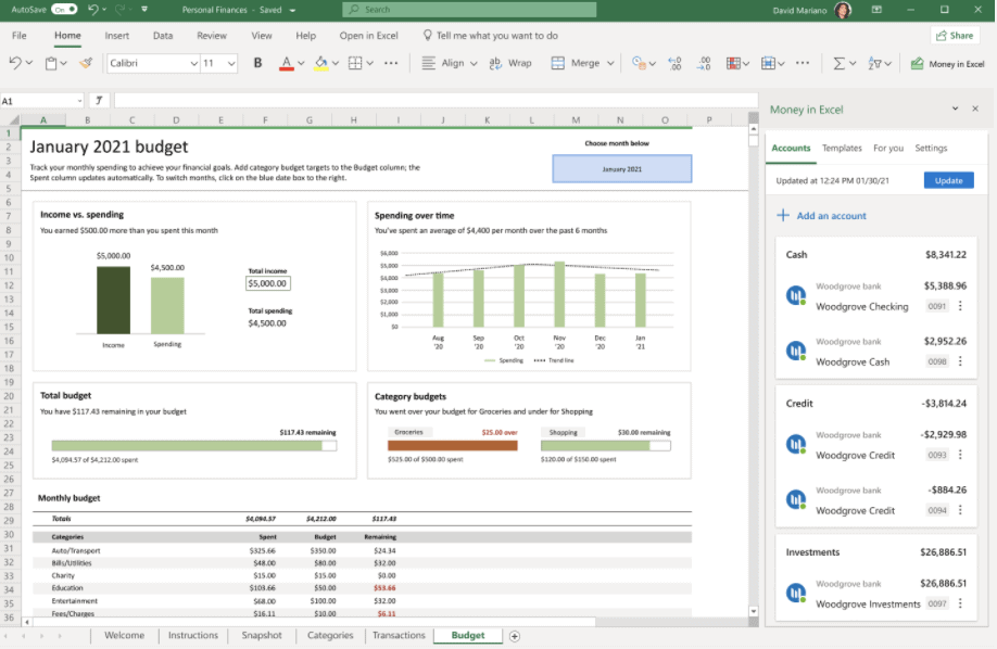 template of excel budget planner