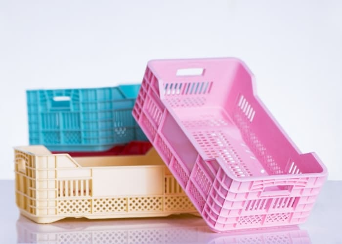 pink blue and white free milk crates