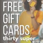 girl getting free gift cards with apps