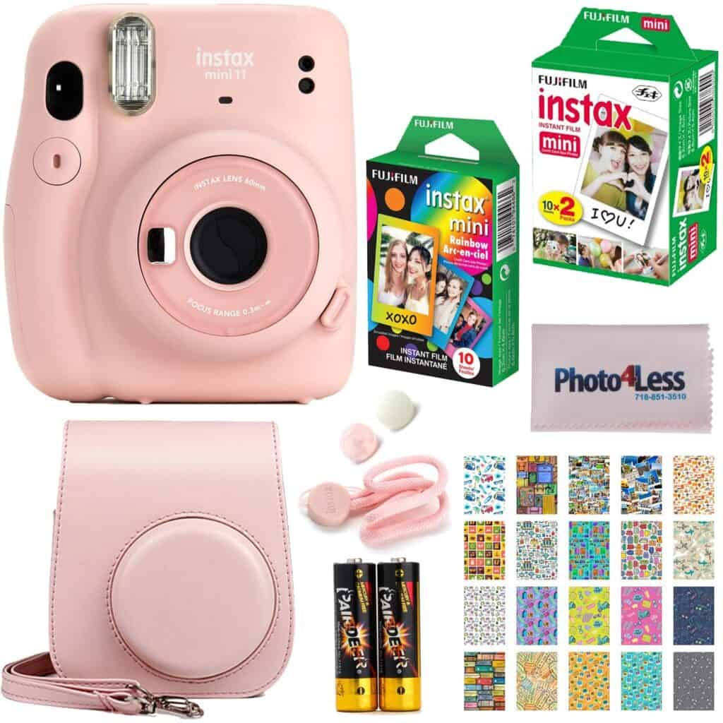 pink instant camera with case