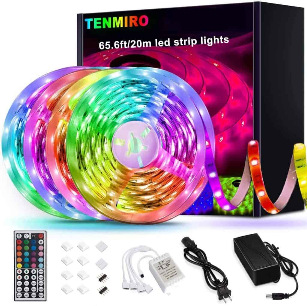 box of multi colored string lights