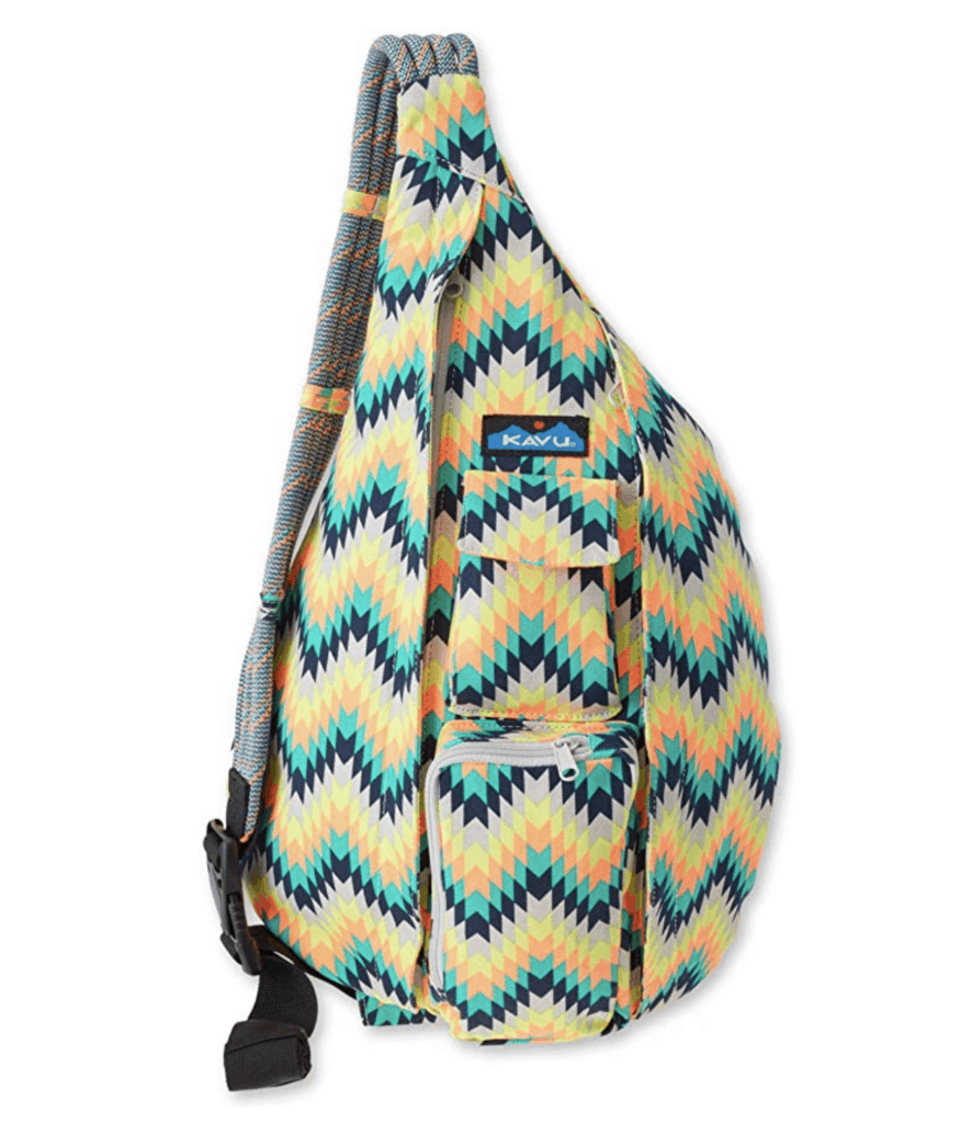 yellow and blue fashion sling rope bag