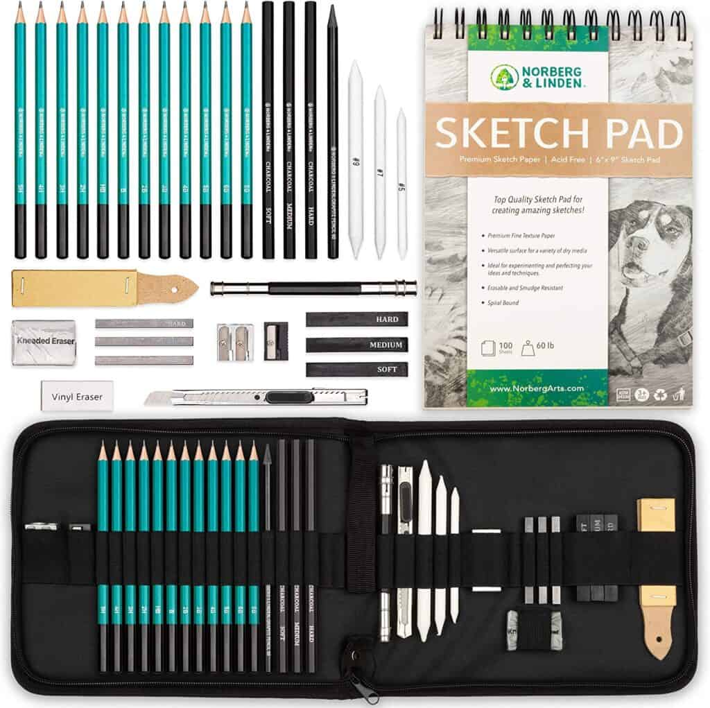 sketch pad kit with pencils